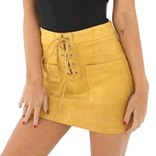 Womens High Waist Fashion Solid Color Pockets Skirts Women Leather Suede Lace Up Bandage Party Pencil Short Mini Skirt