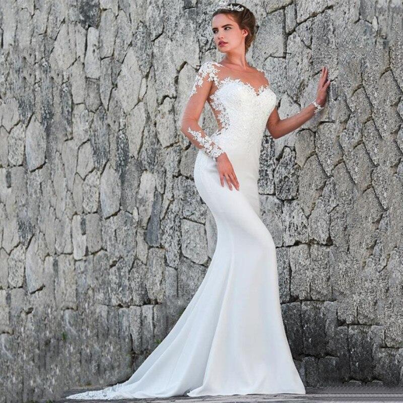 Vestidos de noiva 2019 Long sleeve Mermaid Wedding Dresses Turkey Appliques Lace Custom Made Bridal Dress