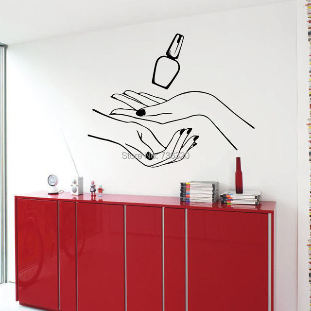 New Girl Nail Hand Vinyl Wall Decal Manicure Hands Beauty Salon ...