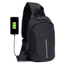 Cross-Border for New Style Anti-Theft Lock Mens Chest USB Charging Sling Bag Crossbody Tide Cool Multipurpose