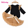 Wedding dress Gold 2017 New Baby Girl Princess Tutu Skirt Chiffon  Baby Girl Clothes Sets Dance Wear Party Pettiskirt YK&Loving