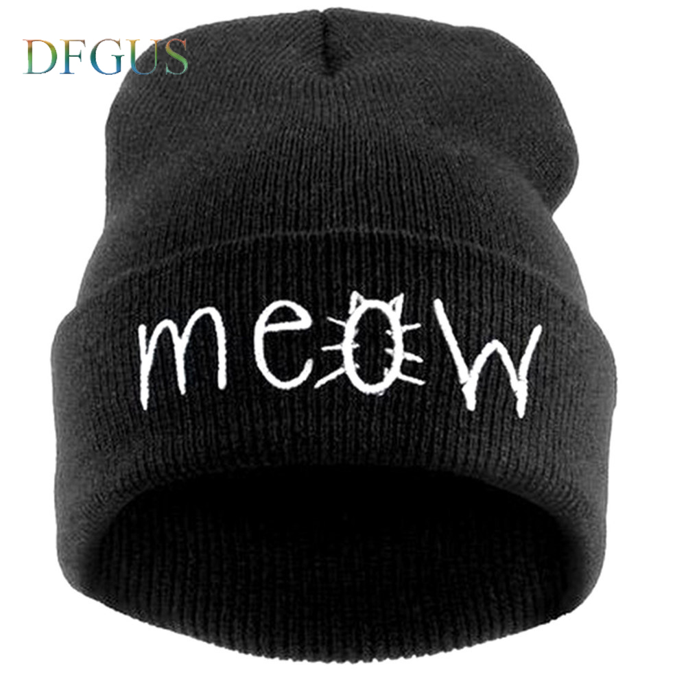 Fashion MEOW Cap Men Casual Hip-Hop Hats Knitted Wool Skullies Beanie Hat Warm Winter Hat for Women Drop Shipping SW43 2016 New wool skullies cap hat 10pcs lot 2289