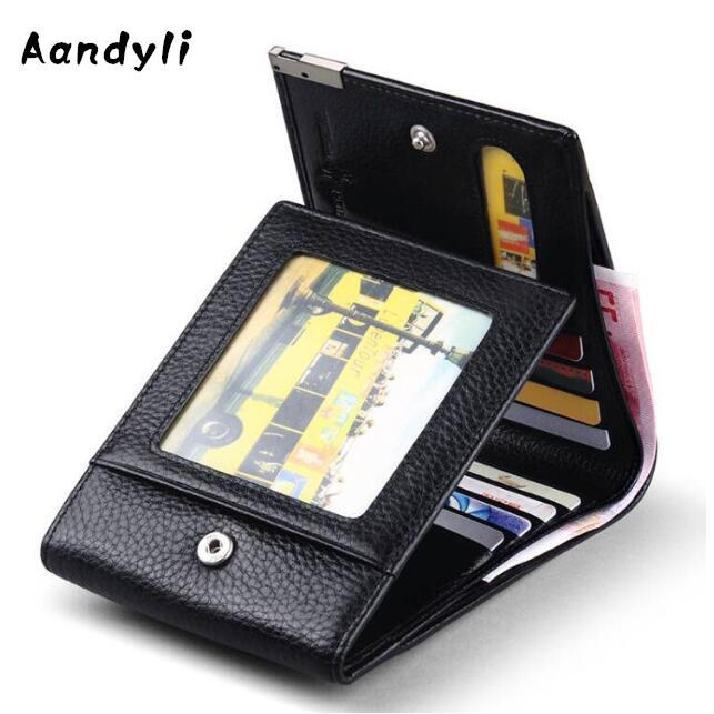 Business Men Wallets Genuine Leather Coin Purse Pocket Trifold Design Men wallet Cow Male Card ID Holder never leather badge holder business card holder neck lanyards for id cards waterproof antimagnetic card sets school supplies