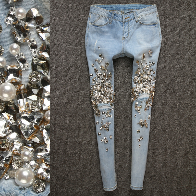 Pantalones Agujeros Denim Cristal Mano Street De Lápiz Vaqueros Diamantes Hecho A Jeans Rasgado Vintage Mujer 00145 Bling High qrwFnxqv6A