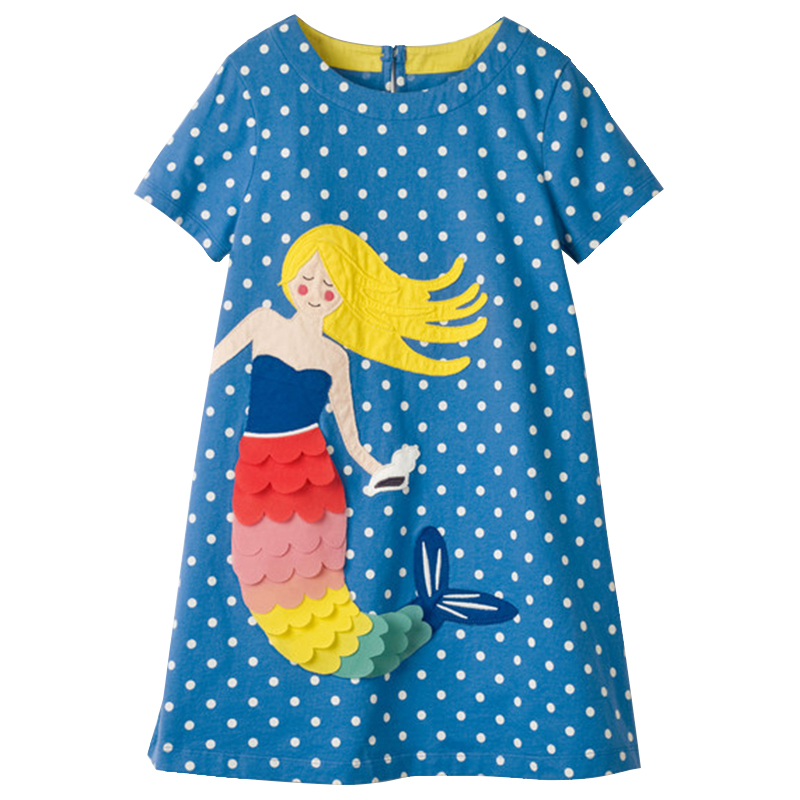 Girls Summer Dresses with Animal Applique 2018 Brand Children Clothes Girls Princess Party Dress kids clothing For Age 2-10Year цена