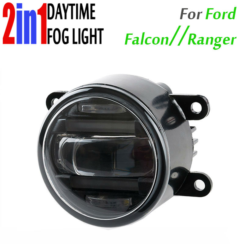 90mm Round Auto Car Truck DRL Daytime Fog Led Daytime Running And Led Fog 2In1 With Projector Lens Waterproof For Ford Ranger smrke drl for ford ranger wildtrak 2015 2017 car led daytime running lights