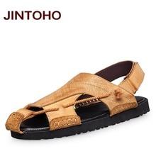 JINTOHO Big Size 36-47 Men's Sandals New 2016 Genuine Leather Sandals Casual Men Summer Leather Shoes For Men