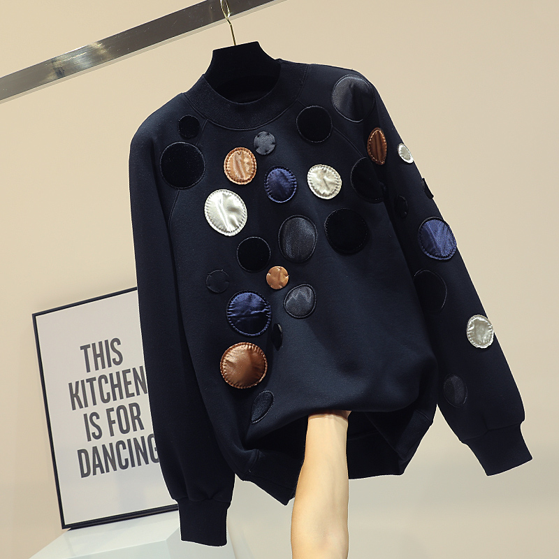 The Spring And Autumn Interval And The New Units Free Fleece Feminine Black Coloration Matching Dot Coat College students Embroidery Material Coat