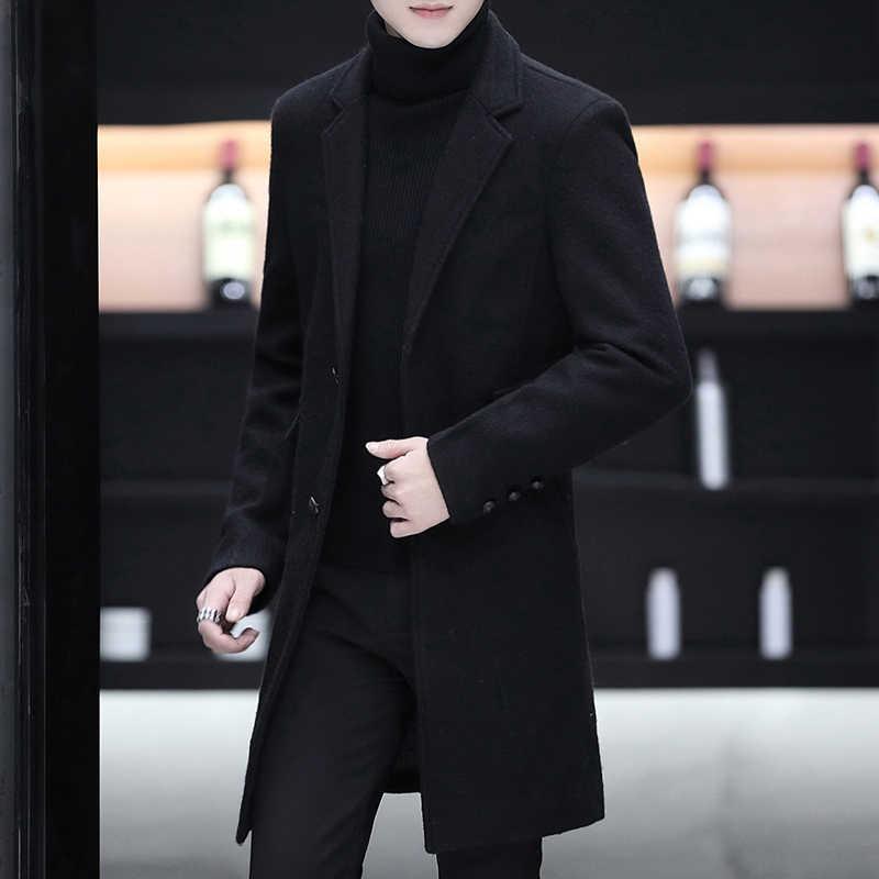 Новое поступление, зимнее шерстяное пальто для мужчин, высокое качество, однобортное пальто с двумя пуговицами, Мужское пальто, длинное модное приталенное пальто для мужчин