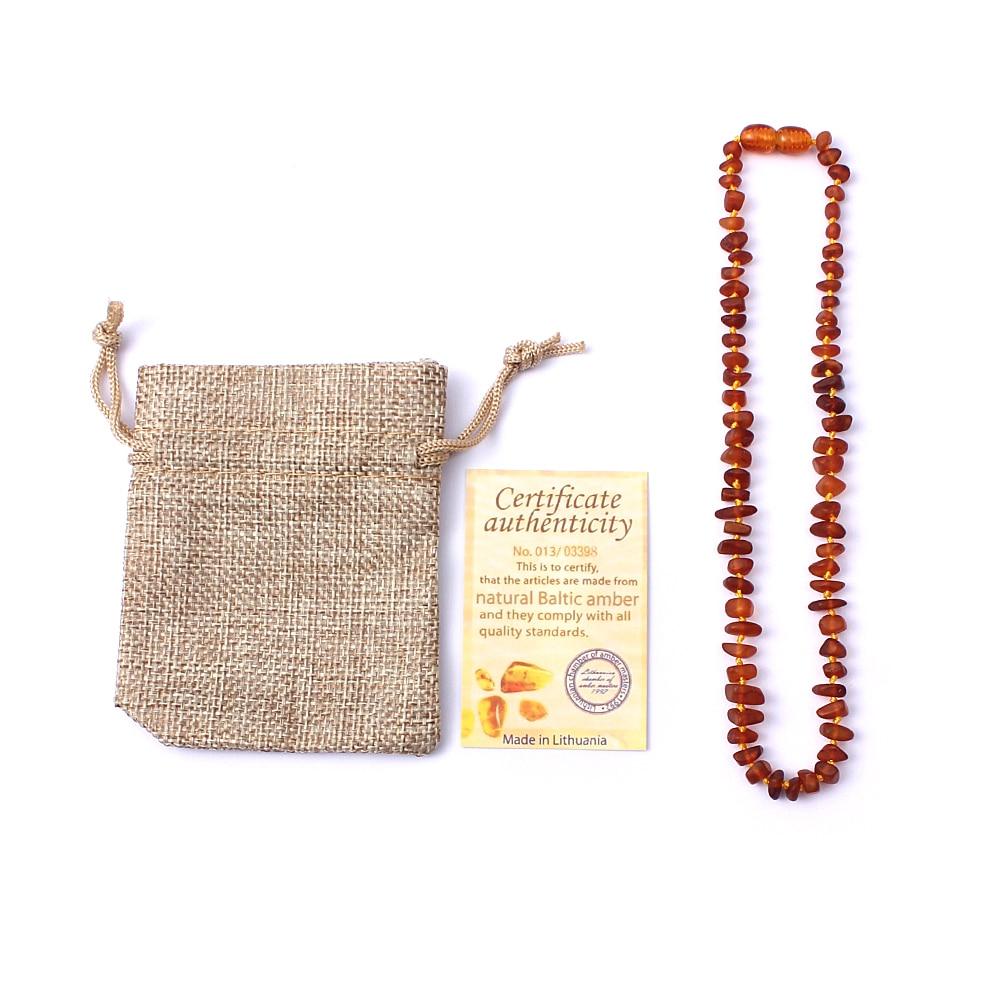 WinWinWin Natural Ambar Cognac Color Beads Unpolish Beans Raw Handmade Baltic Ambar Teething Necklace for Baby Kids Mom Adults