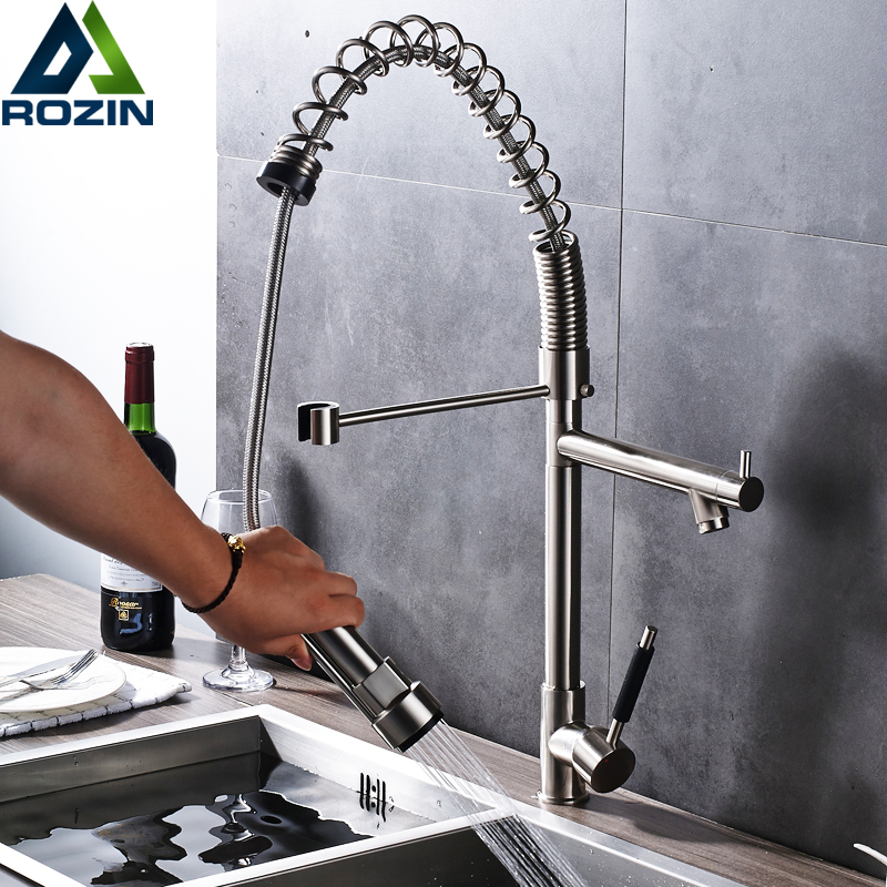Brushed Nickel Bathroom Kitchen Sink Mixer Faucet Deck Mounted Spring Pull Down Kitchen Hot and Cold Water Taps best quality led color changing bathroom kitchen water taps single lever pull down kitchen mixer faucet brushed nickel finish
