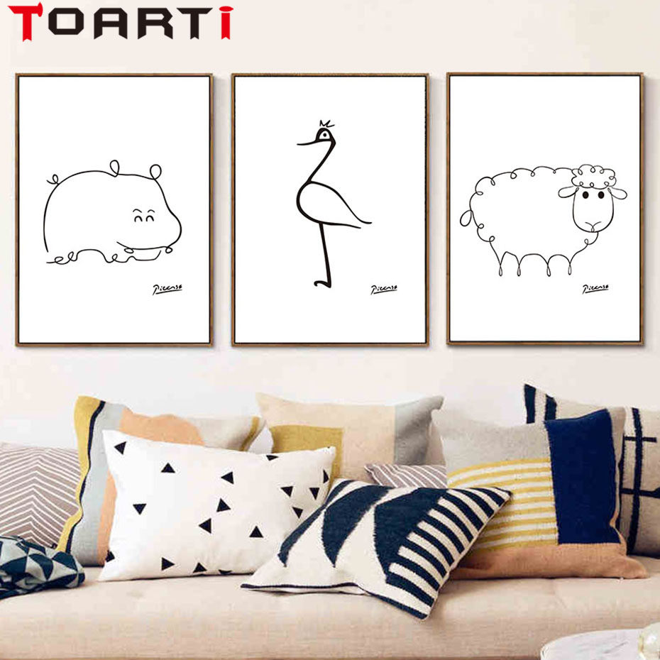 Minimalist pablo picasso abstract animals fish bird sheep for Sofa zeichnung