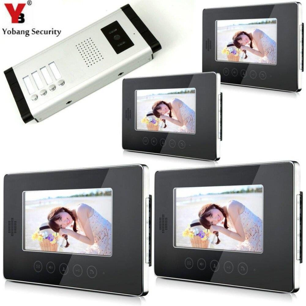Yobang безопасности видеодомофоны 7'Inch сенсорный экран видео дверные звонки телефон двери громкой связи домофон системы для 4 единицы квартира