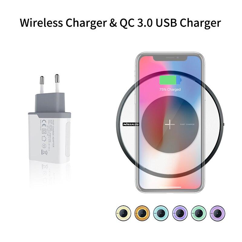 Chargeur sans fil rapide nillkin 10 W Qi chargeur sans fil avec QC 3.0 chargeur de téléphone USB rapide pour Samsung S8/S9 pour iPhone X