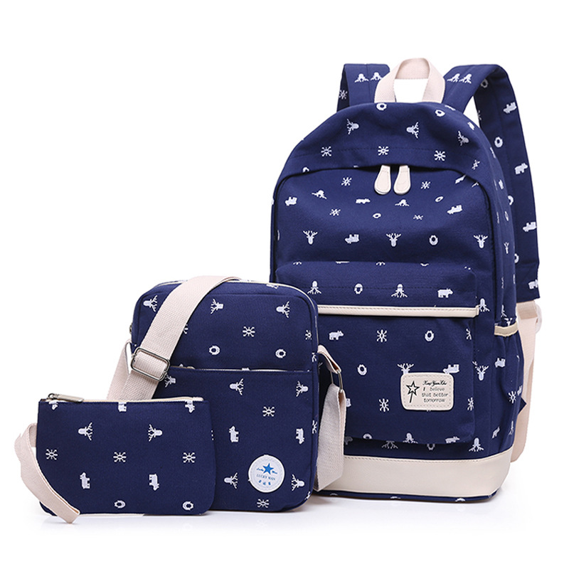 YK-Leik Girl School Bags For Teenagers backpack set women shoulder travel bags 3 Pcs/Set rucksack mochila knapsack ...