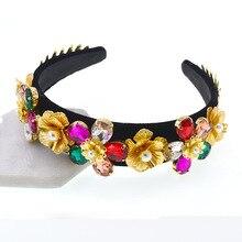 New Baroque Red Crystal Headband For Women Hair Accessories Luxury Pearl Band Rhinestone Headdress