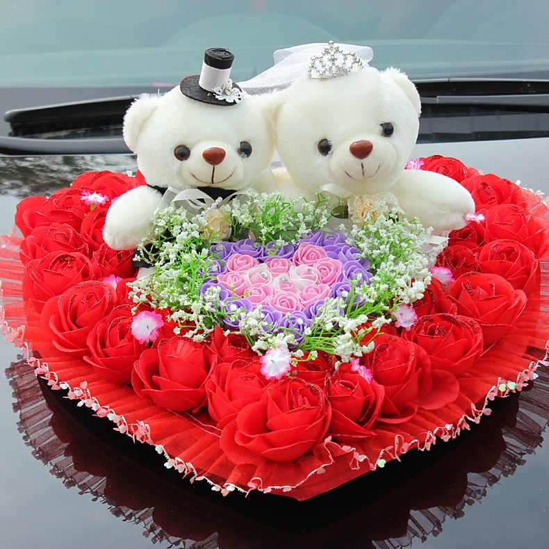 Online Wedding Supplies Car Decoration Package Floats Decorated Doll Front Korean Hearts Aliexpress Mobile