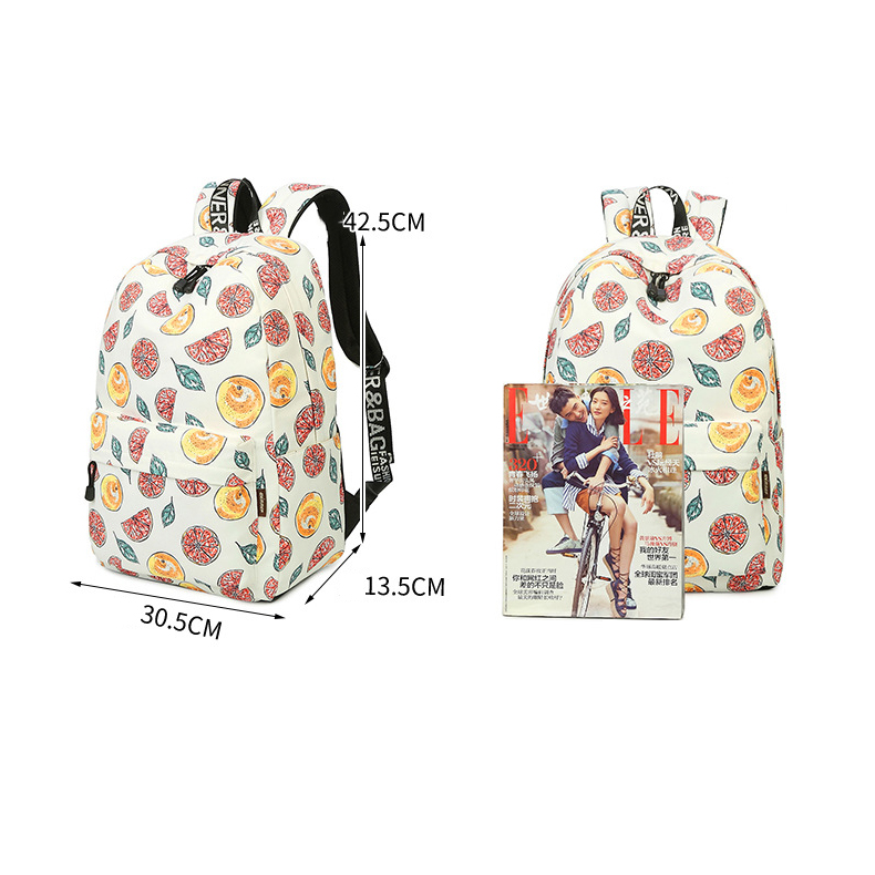 2017 Women Canvas Backpack for Teenages Girls Orange Fruits Printing Cute Middle High School Bags Back pack Backpacks Bookbags