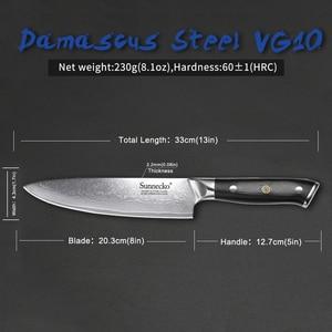 Image 5 - SUNNECKO 7PCS Kitchen Knife Set Chef Bread Santoku Utility Paring Knives 73 Layer Damascus VG10 Steel Sharp Balde Cutting Tools