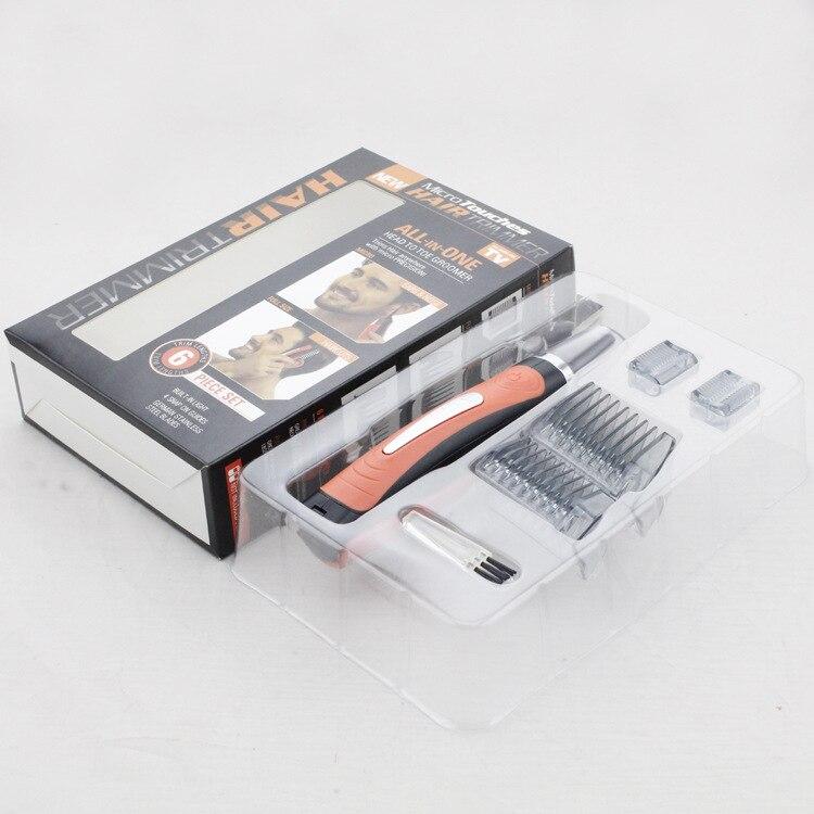 Trimmer doppio per uomo Clipper Micro Barba personale Trimmer per capelli Rasoio multifunzione Grooming Remover Controllo antiscivolo LED Light (12)