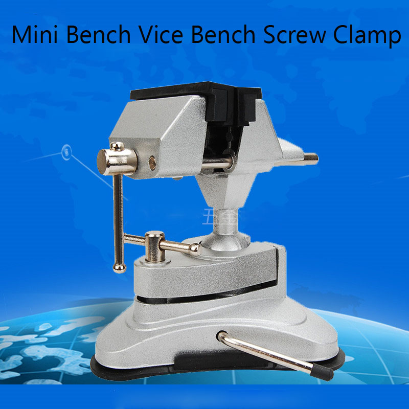 ФОТО 1pc Free DHL Mini Bench Vice Screw Clamp Grinder Tool Holder Clip-on Plier 360 degree Swivel Bench Vice for Electric Drill Stent