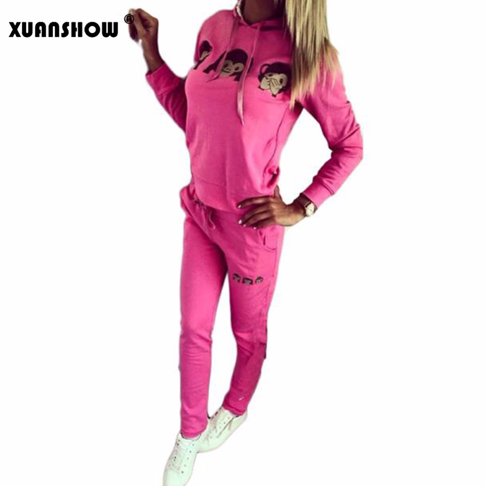 XUANSHOW Tracksuits for Women Fashion Cute Monkey 3D Emoji Pattern Printed Long Sleeve with Hooded Sweatshirts + Pants Suits Set