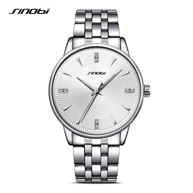 SINOBI Sports Men Wrist Watches Stainless Steel Watchband Top luxury Brand Male Causal Geneva Quartz Clock Montres Hommes 2017