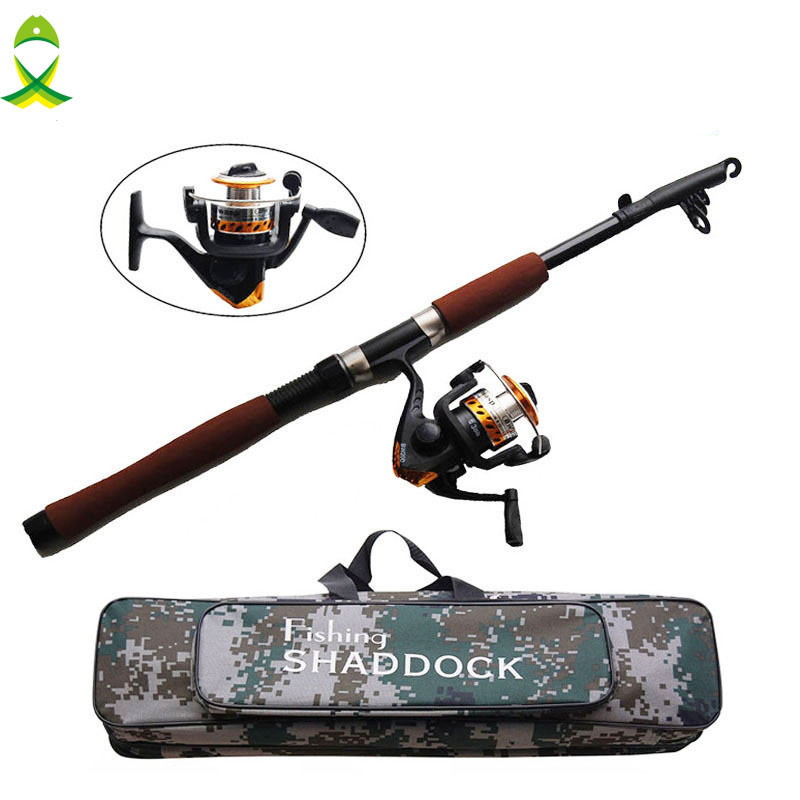 JSM Fishing Reel And Rod Set with Spinning Reel and 2.1m Telescopic Fishing Rod Combo with fishing bags Fishing Tackle купить