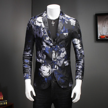European and American style exquisite flower printed quality men blazer 2016 New fashion slim boutique jacquard blazer men M-5XL