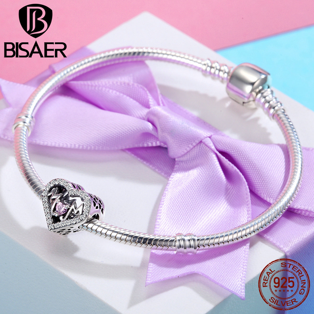 Authentic 100% 925 Sterling Silver I Love My Mom, Mother's Day Gift Heart Beads Fit Pan Charm Silver 925 Bracelet Jewelry wostu 100% 925 sterling silver i love my family sweet home charm bracelet bangle for women cute girl lovely jewelry gift cqb810