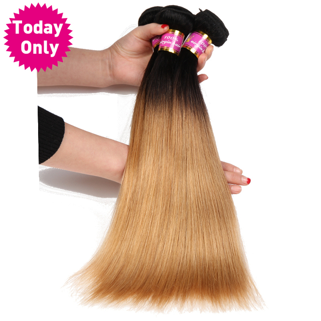 [TODAY ONLY] Blonde Ombre Brazilian Straight Hair Weave Bundles 1b 27 Two Tone Human Hair Bundles Non Remy Hair Can Buy 3 or 4