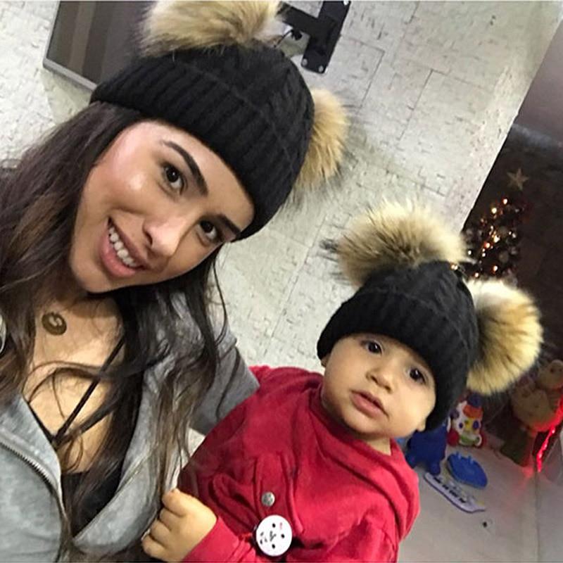 Mother Kids Warm Winter Caps Real Fur Pom Pom Bean