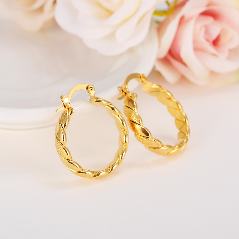 Bangrui Bridal Men Jewelry Color amarillo Brincos Pendientes de aro de mujer de alta calidad amarillo Wave Hollow Earrings