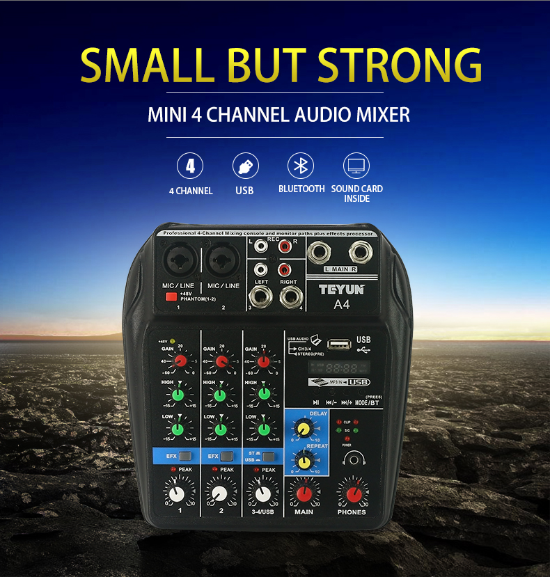 Profesional 4 Channel Mixing Console Aux efectos caminos Plus procesador Mini Micro pequeño Audio Mixer Console con Bluetooth USB