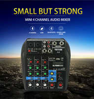 Professional 4 Channel Mixing Console Aux Paths Plus Effects Processor Mini Micro Small Audio Mixer Console with Bluetooth USB