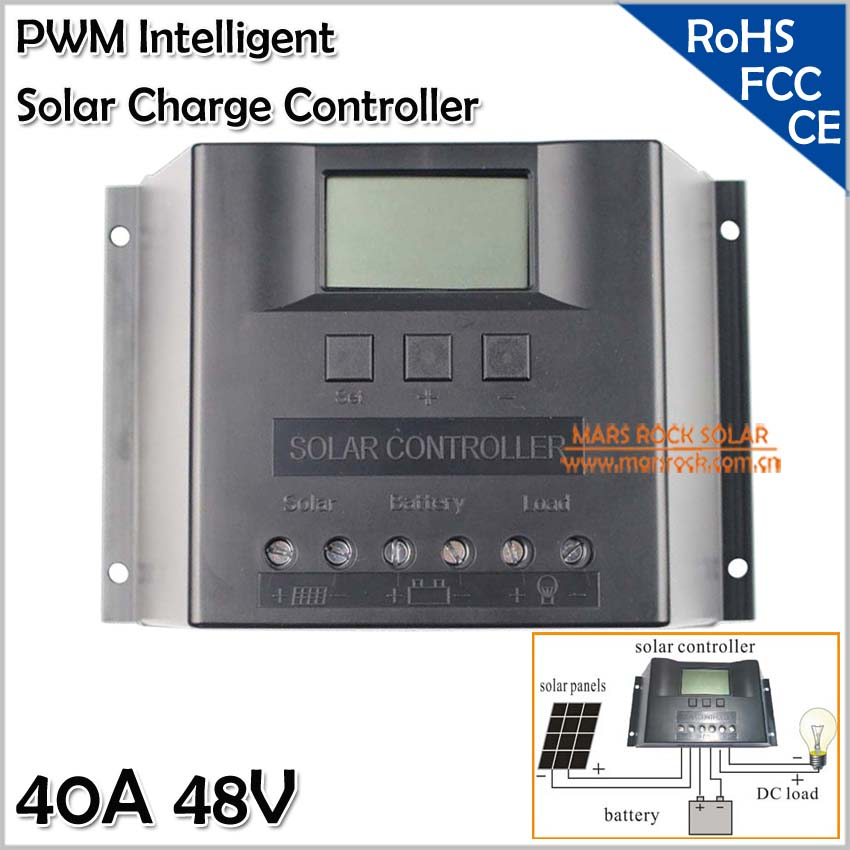 48V Solar Controller, 40A PWM Solar Regulator, Intelligent Solar Charge Controller with LED Display, 40A Solar Controller,CE FCC 12v 24v 40a mppt pwm solar regulator with lcd display usb intelligent streetlight three time solar charge controller y solar