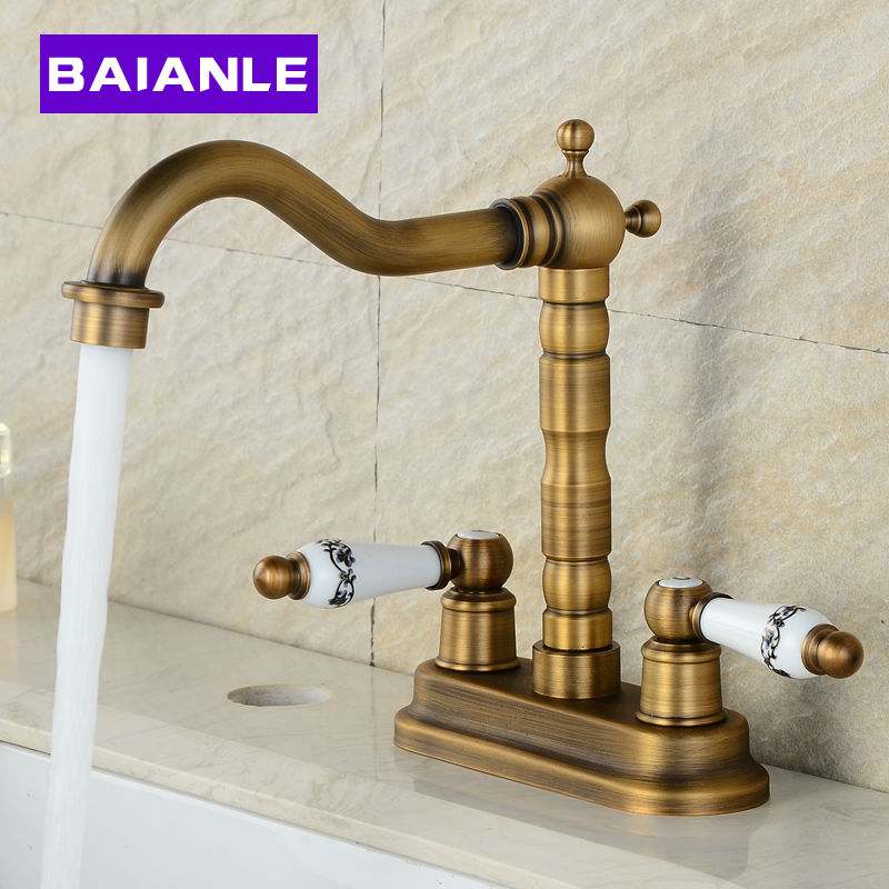 Free Shipping Golden/Antique Basin Faucet Brass Deck Mounted Dual Ceramics Cross Handles Bathroom Vessel Sink Swivel Mixer Taps antique brass bathroom basin faucet dual cross handles single hole deck mounted vessel sink gooseneck mixer taps wnf006