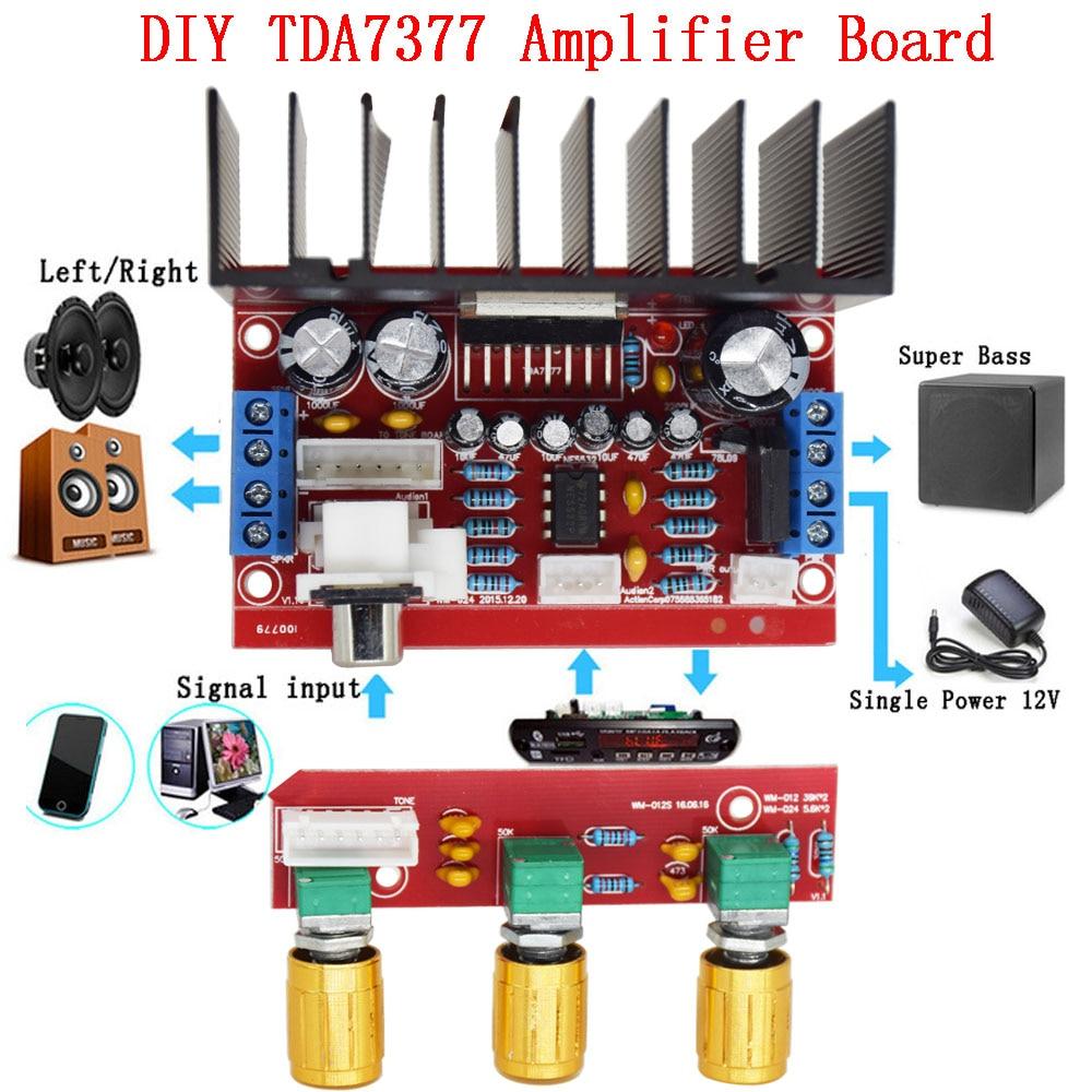 Single power computer super bass 2.1 power amplifier board 3 channel sound amplifier TDA7377 Солдат