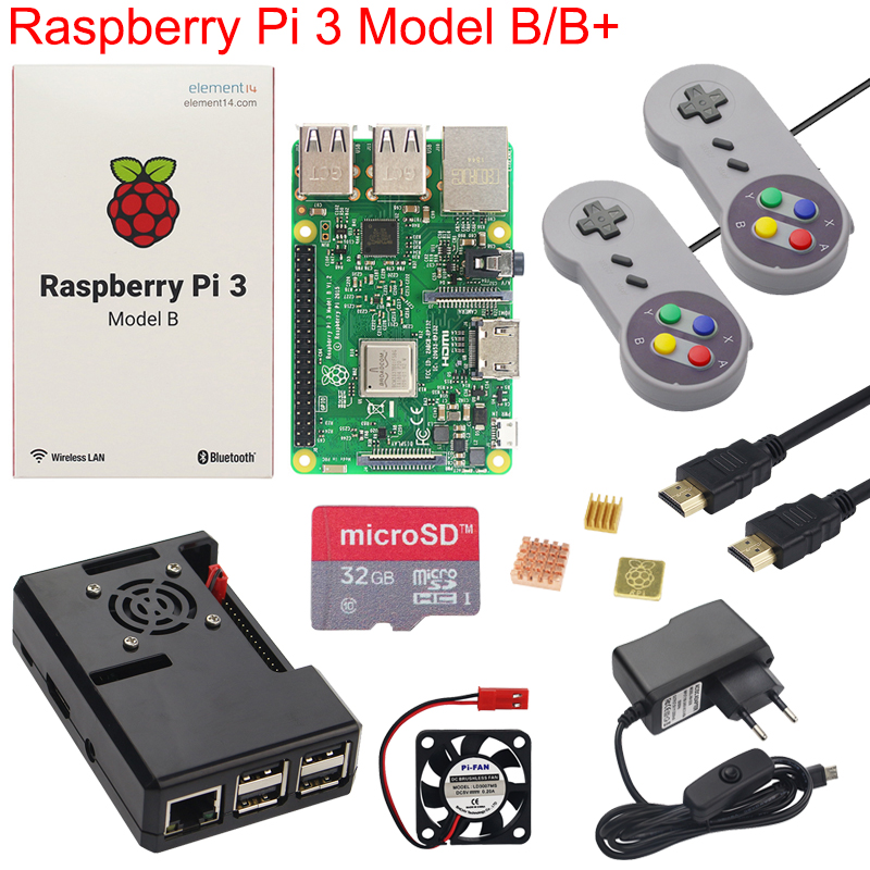 Raspberry Pi 3 Model B Plus Game Starter Kit 16G 32G SD Card Gamepad Case Fan