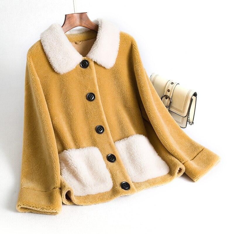 Femme Manteau Coréen Green 2018 Fourrure Laine De Daim Automne Court Zt1650 Femmes Vintage Vêtements Veste Hiver Manteaux Doublure pink yellow En 4E4w5nrvUq