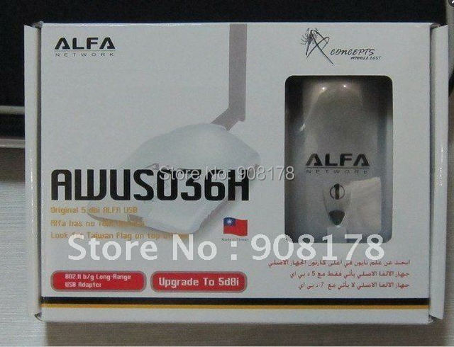 Alfa 54Mbps USB High-Power wireless Wifi Card  ALFA AWUS036H 1000mw  5db antenna free shipping