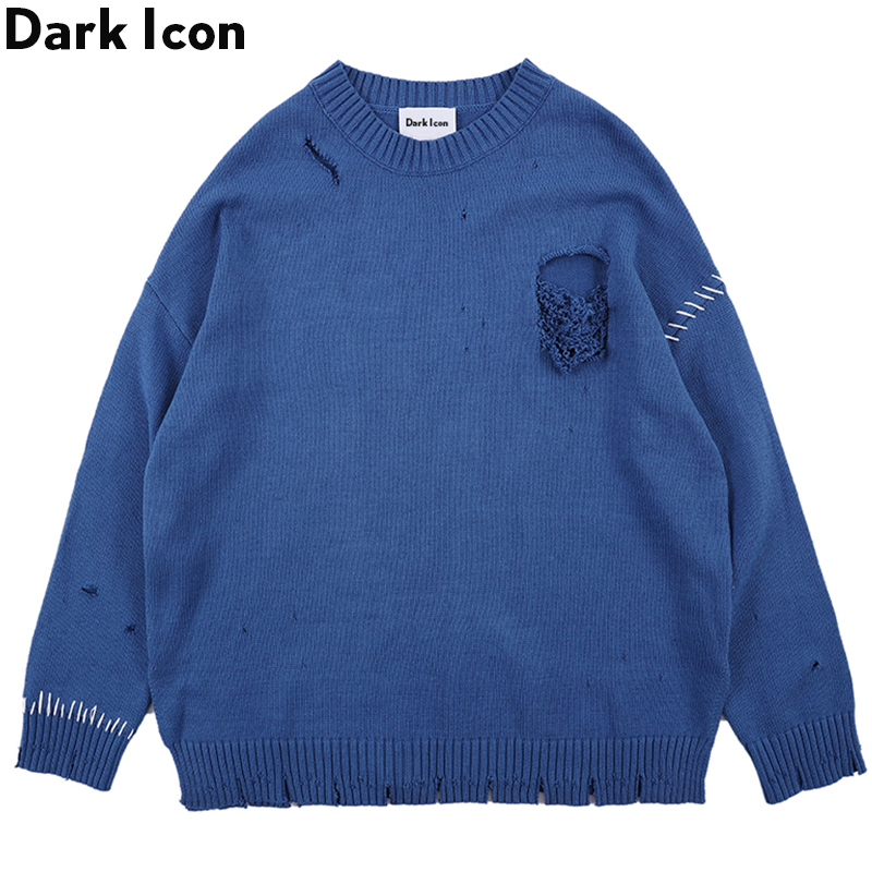 Dark Icon Side Split Ripped Sweater Men Solid Color High Street Men's Sweaters Round Neck Sweater For Men