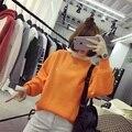 2017 Coreano outono e inverno nova camisola das mulheres cor sólida solto bordado hoodies do pulôver das mulheres quente