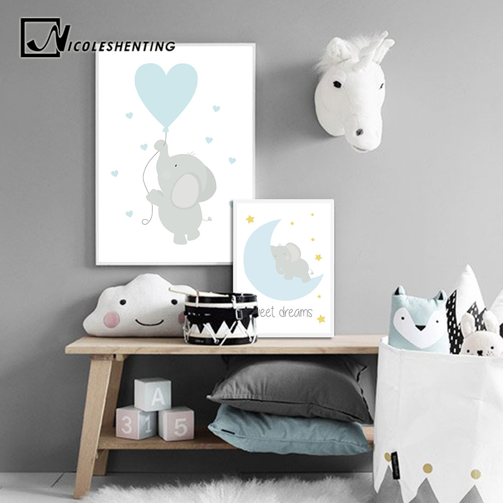 Baby Nursery Wall Art Canvas Posters Prints Cartoon Elephant Moon Painting Nordic Kids Decoration Picture Children Bedroom Decor