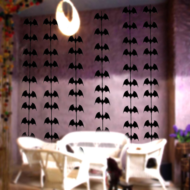 Hy Black Bat Banner Garland Scary Party Haning Decorations Supplies For Ceiling Wall Windows