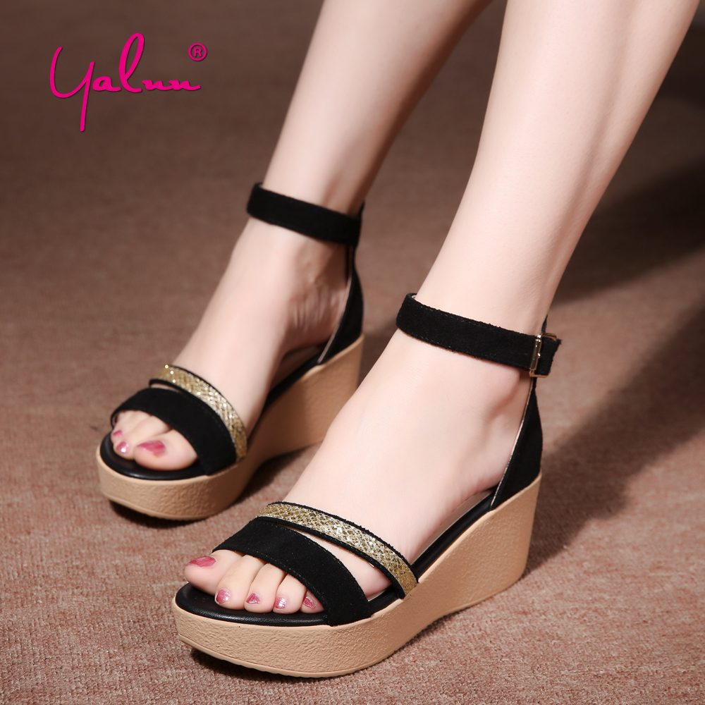 Black Buckle Strap Platform Shoes Woman Casual Summer Sandals Wedges Ankle Strap Heels Women Sandals with Sexy Golden Decoration xiaying smile woman sandals shoes women pumps summer casual platform wedges heels buckle strap flock hollow rubber women shoes