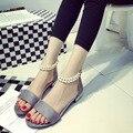 A nova primavera e verão 2016 Coreano estilo pérola sapatos boca de peixe sandália do dedo do pé senhora sapatos de praia sapatos casuais maré