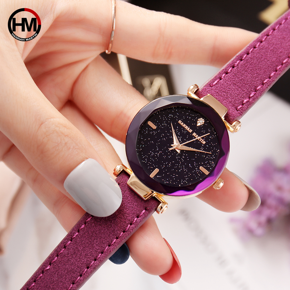2018 NEW Japan Quartz Movement Fashion Luxury Star Dial Leather Women Watches Ladies Fashion Famous Brand Jewelry Wrist Watch dwg brand new wooden watch japan quartz movement rhinestone ladies fashion brown wrist watches women cherry wood clock with box