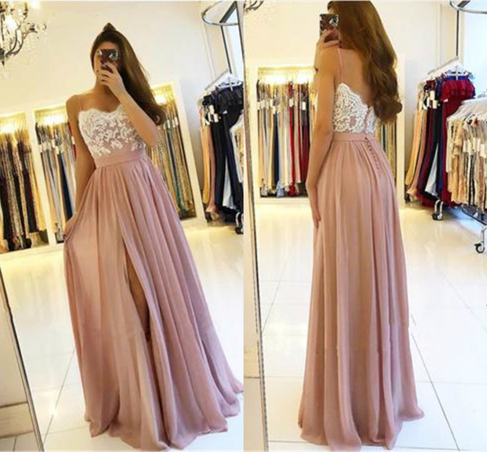 2019 Blush Pink Long   Bridesmaid     Dresses   Wedding Party High Side Split A-Line Appliques Chiffon Sexy Back Wedding Guest Gowns