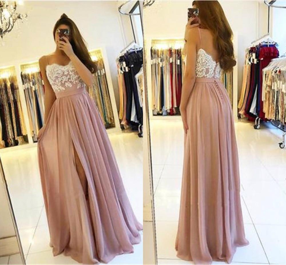 2019 Blush rose longues robes de demoiselle d'honneur fête de mariage haut côté Split a-ligne Appliques en mousseline de soie Sexy retour robes de mariée